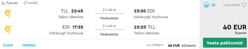 Lennud Edinburgh