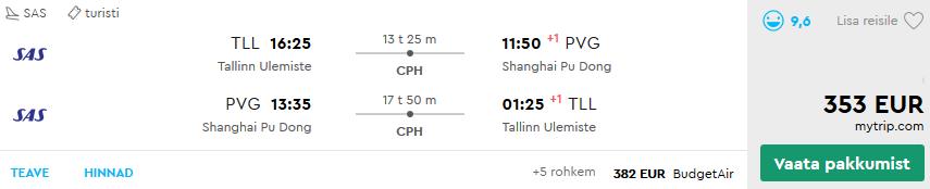 Lennud Shanghai